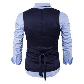 V Neck Back Belt Single Breasted Waistcoat - Bleu Cadette XL
