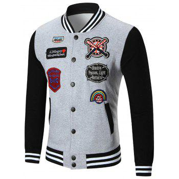 Applique Patched Baseball Jacket - GRAY GRAY