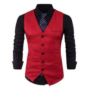 V Neck Edging Single Breasted Waistcoat - RED M