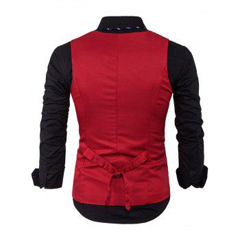 V Neck Edging Single Breasted Waistcoat - RED RED
