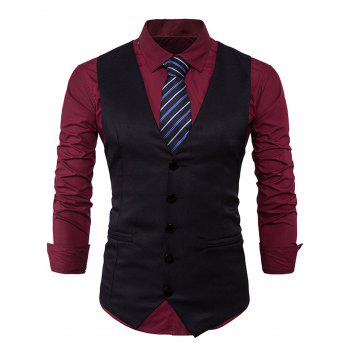 V Neck Edging Design Waistcoat - BLACK BLACK