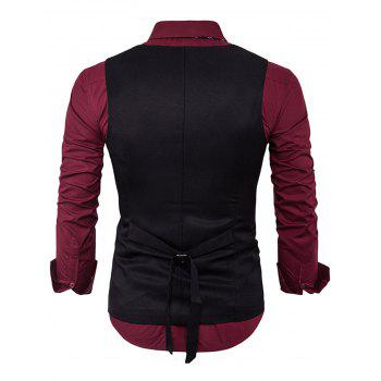 V Neck Edging Design Waistcoat - BLACK M
