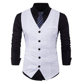 V Neck Edging Single Breasted Waistcoat