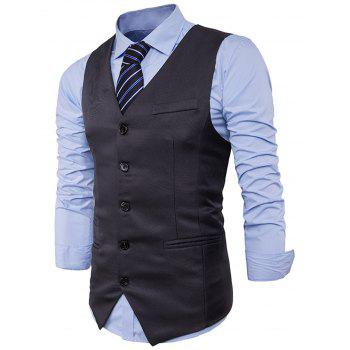 V Neck Edging Single Breasted Waistcoat - DEEP GRAY DEEP GRAY