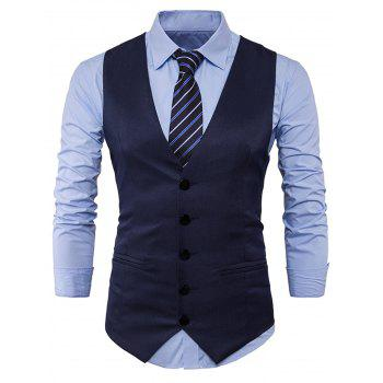 V Neck Edging Design Waistcoat - CADETBLUE CADETBLUE