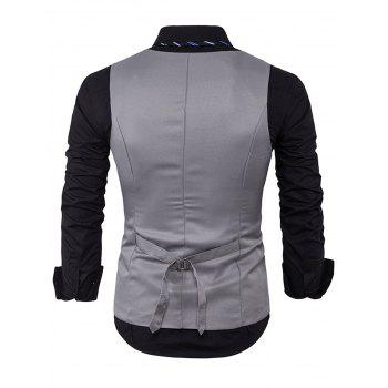 V Neck Edging Single Breasted Waistcoat - LIGHT GRAY LIGHT GRAY