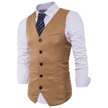 V Neck Edging Single Breasted Waistcoat - KHAKI KHAKI
