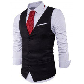 Color Block Edging Single Breasted Waistcoat - BLACK BLACK