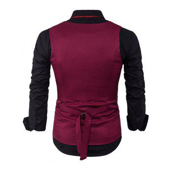 Color Block Edging Single Breasted Waistcoat - WINE RED 2XL