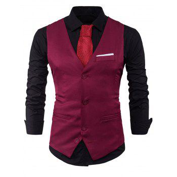 Color Block Edging Single Breasted Waistcoat