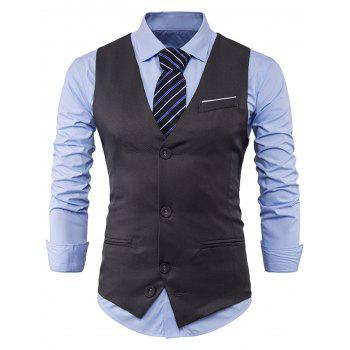 Color Block Edging Single Breasted Waistcoat - GRAY 2XL