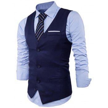 Color Block Edging Single Breasted Waistcoat - CADETBLUE M