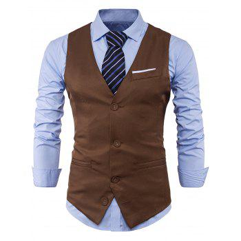 Color Block Edging Single Breasted Waistcoat - KHAKI 2XL