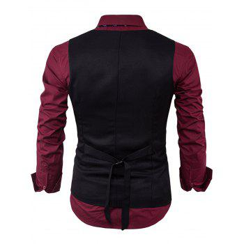 V Neck Back Belt Single Breasted Waistcoat - Noir L