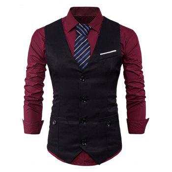V Neck Back Belt Single Breasted Waistcoat - BLACK BLACK