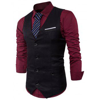 V Neck Back Belt Single Breasted Waistcoat - Noir 2XL