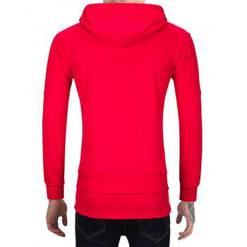 Drawstring Hem Zip Front Distressed Hoodie - Rouge M