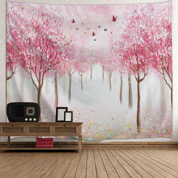 Floral Trees Forest Print Tapestry Wall Hanging Art - PINK W71 INCH * L91 INCH