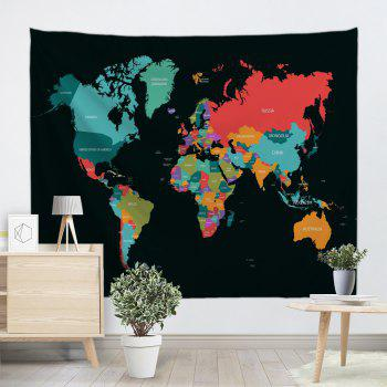 World Map Print Tapestry Wall Hanging Decor - COLORMIX W71 INCH * L91 INCH