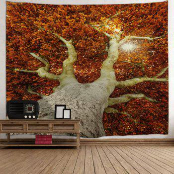 Leafy Tree Print Tapestry Wall Hanging Art - DARKSALMON W71 INCH * L91 INCH