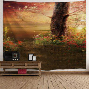 Tree Floral Tree Print Tapestry Wall Hanging Art - COLORMIX W71 INCH * L91 INCH