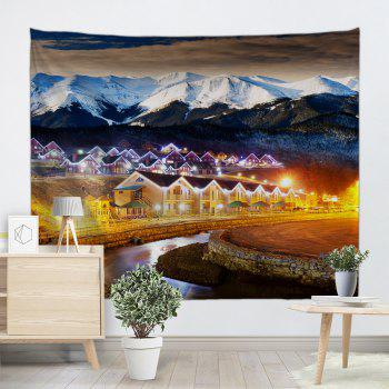 Mountain Village Print Tapestry Wall Hanging Art - multicolorcolore W71 INCH * L91 INCH