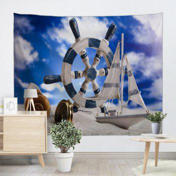Beach Boat Rudder Print Tapestry Wall Hanging Art - BLUE W71 INCH * L91 INCH