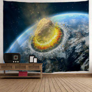 Meteorite Collide The Earth Print Tapestry Wall Hanging Art - BLUE W71 INCH * L91 INCH