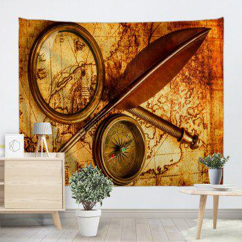 Explorer Retro Map Print Tapestry Wall Hanging Art - BROWN W71 INCH * L91 INCH