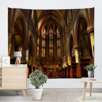 Christian Church Print Tapestry Wall Hanging Art - BROWN W71 INCH * L91 INCH