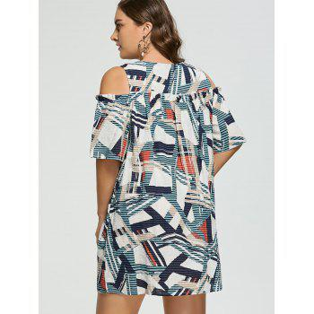 Plus Size Geometric Ruffle Cold Shoulder Dress - multicolorCOLOR 4XL