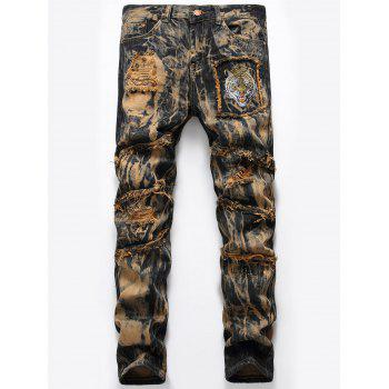 Tiger Embroidery Distressed Tie Dyed Jeans