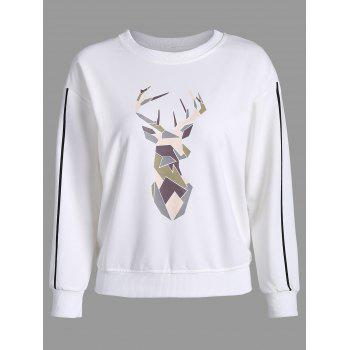 Printed Drop Shoulder Long Sleeve Sweatshirt - WHITE 2XL