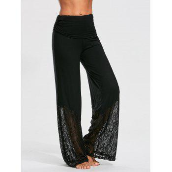 Palazzo Pants with Lace and Flounce Insert - BLACK M