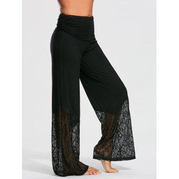 Palazzo Pants with Lace and Flounce Insert - L L