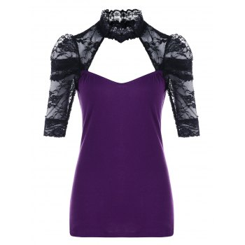 Lace Insert Cut Out T-shirt - PURPLE PURPLE