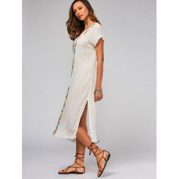 Batwing Sleeve Leaf Embroideried Split Straight Dress - WHITE WHITE