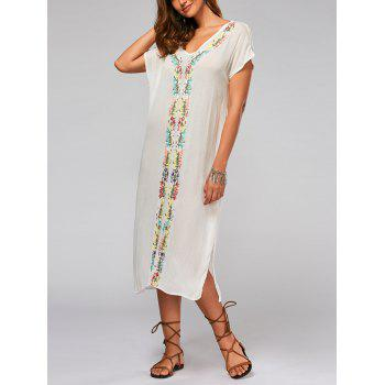 Batwing Sleeve Leaf Embroideried Split Straight Dress - WHITE XL