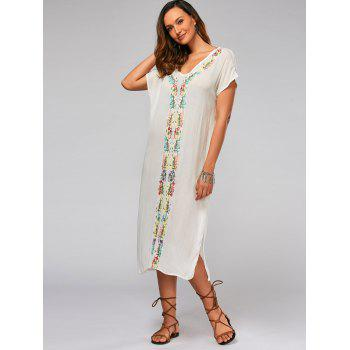 Batwing Sleeve Leaf Embroideried Split Straight Dress - XL XL