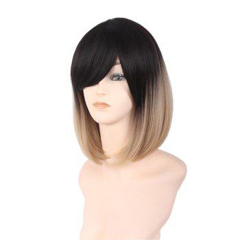 Short Incliend Bang Straight Bob Ombre Synthetic Wig -  COLORMIX