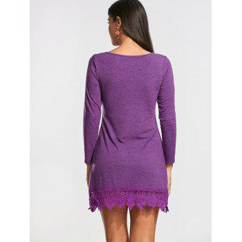 Lace Trim Long Sleeve T-shirt Mini Dress - PURPLE PURPLE