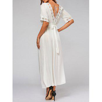 Bowknot Tail Lace Trim Flare Maxi Dress