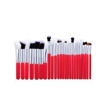 Round Handle Face Eye Makeup Brushes Set - RED RED