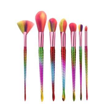 Glitter Mermaid Tail Makeup Brushes Set -  multicolor