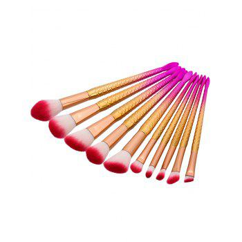 Ombre Glitter Handle Mermaid Makeup Brushes Set - PINK / YELLOW