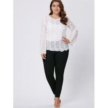 Plus Size Long Flared Sleeve Embellished Top - 4XL 4XL