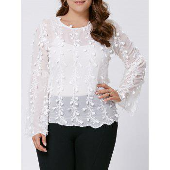 Plus Size Long Flared Sleeve Embellished Top - WHITE 4XL