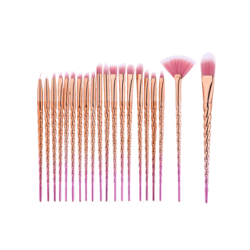 Ombre Unicorn Eye Makeup Brushes Set With Rose Bag -  ROSE GOLD