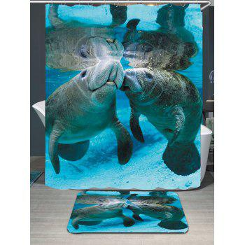 Manatee Printed Waterproof Shower Curtain and Mat - BLUE W79 INCH * L71 INCH