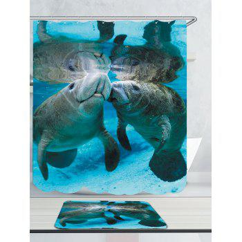 Manatee Printed Waterproof Shower Curtain and Mat - W79 INCH * L71 INCH W79 INCH * L71 INCH